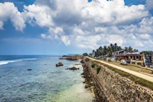 Обои Побережье Дома Дороги Небо Шри-Ланка Море Облака Galle fort Города фото
