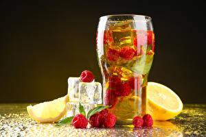 Фотографии Напиток Малина Лимоны Стакане Льда Еда