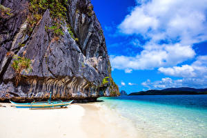 Обои Филиппины Побережье Лодки Море Скала Облака Природа фото