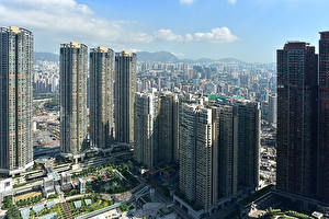 Обои Гонконг Китай Небоскребы Дома Города
