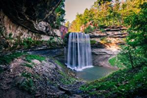 Обои Канада Водопады Скала Ontario Природа фото