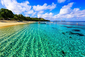 Обои Побережье Море Небо Лодки Пейзаж Природа фото