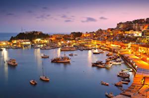 Обои Греция Побережье Вечер Дома Причалы Катера Парусные Athens Города фото