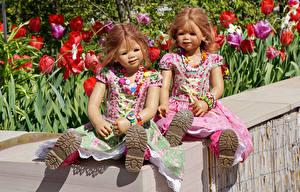 Фотография Парк Тюльпан Кукла Два Девочки Платья Grugapark Essen Природа