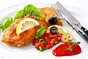 Фото Мясные продукты Овощи Лимоны Кетчупа Пища