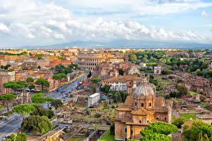 Обои Рим Италия Дома Улица Города