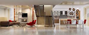Обои Интерьер Дизайн Лестница Стулья Гостиная 3D Графика фото