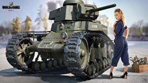 Картинка WOT Танки Nikita Bolyakov MS-1 Игры Девушки
