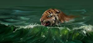 Фото Большие кошки Тигр Рисованные Воде Плывут животное