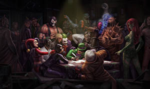 Фото Супергерои Джокер Женщина-кошка герой Manbat, Shiva, Talia, Ra's al ghul, Harleyquinn, Bane, Black Mask, Hugo Strange, Deadshot, Deathstroke, Riddler