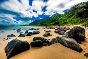 Обои Тропики Побережье Камни США Гавайи Облака Пляж Природа фото