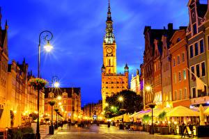Фотография Польша Дома Гданьск Улица Ночные Уличные фонари Города
