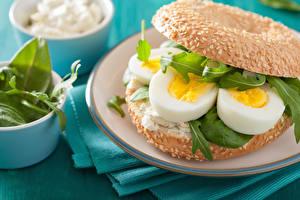 Фото Бутерброды Булочки Яйца Еда