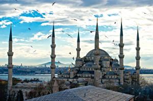 Картинка Турция Храмы Стамбул Султанахмет Мечеть Облака Города