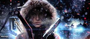 Обои Tomb Raider Rise of the Tomb Raider Пистолет Капюшон Лара Крофт компьютерная игра Девушки