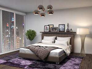 Обои Интерьер Дизайн Спальня Кровать Ковер Лампа 3D Графика фото