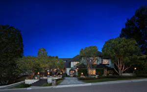 Обои США Дома Особняк Дизайн Ночь Деревья Laguna Hills Города фото