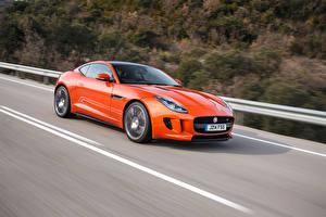 Обои Jaguar Оранжевый Едущая F-Type авто
