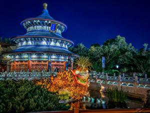 Обои США Диснейленд Парки Пагоды Калифорния Анахайм HDR Ночь Дизайн Города фото