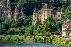 Обои Франция Замки Побережье Скала Chateau De La Mallantrie Города фото
