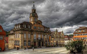 Картинки Германия Дома HDRI Улице Облако Schwabisch Hall Города