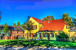 Обои Дома Дизайн Трава Забор HDR Города фото