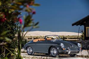 Фотографии Порше Ретро Серая Металлик Кабриолет Родстер 1959-61 356B 1600 Super 90 Roadster by D'ieteren Freres Автомобили