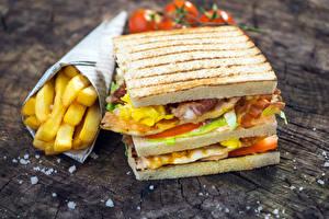 Фото Фастфуд Бутерброды Картофель фри Сэндвич Еда
