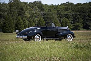 Картинка Ретро Черные Металлик Кабриолет 1937 LaSalle Convertible Coupe Машины