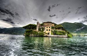 Картинки Италия Дома Горы Озеро HDR Lenno Города