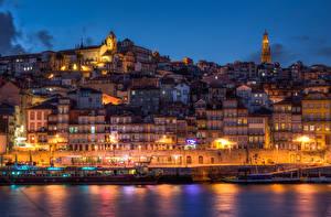 Обои Португалия Дома Пристань Порту Ночь Уличные фонари