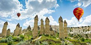 Картинки Турция Парки Утес Воздушный шар Goreme national park Anatolia Природа