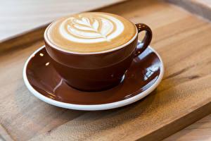 Обои Напитки Кофе Капучино Чашка Разделочная доска Еда фото