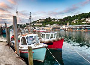 Картинки Великобритания Реки Пирсы Катера Дома Looe Harbour Города