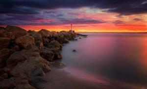 Обои Пейзаж Испания Рассветы и закаты Побережье Камни Valencia Природа фото