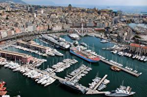 Картинка Италия Дома Причалы Корабли Парусные Лигурия Genoa Города