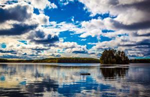 Фотографии Финляндия Озеро Небо Облака Kullaa Природа
