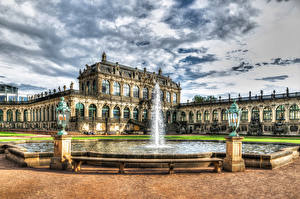 Обои Дрезден Германия Фонтаны Небо Дворец Дизайн Уличные фонари Zwinger palace Города фото