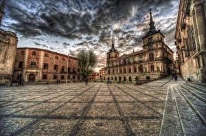 Картинка Испания Здания Толедо HDR Улица Облака