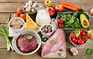 Фотографии Мясные продукты Грибы Сыры Молоко Томаты Овощи Фрукты Чеснок Курятина Кувшины Пища