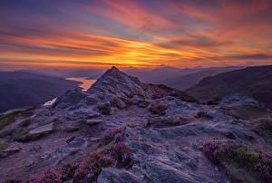 Фотография Шотландия Пейзаж Горы Рассвет и закат Небо Природа