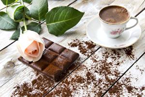 Фотографии Натюрморт Кофе Шоколад Розы Чашке Какао порошок Цветы