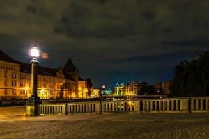Картинки Берлин Германия Здания Мосты HDR Ночь Уличные фонари Города