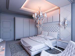 Обои Интерьер Дизайн Спальня Кровать Люстра Лампа Потолок фото