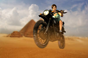 Фото Tomb Raider Anniversary Tomb Raider Лара Крофт Мотоциклист Игры Девушки Мотоциклы