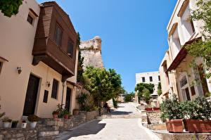 Обои Греция Дома Улица Rethymno Crete island Города фото