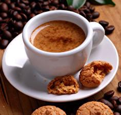 Картинка Кофе Печенье Чашка Зерна Пища