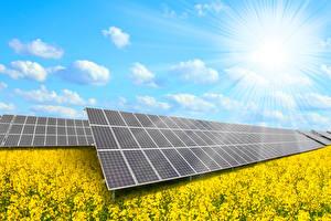 Обои Небо Лучи света solar panels Природа