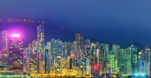 Фотография Гонконг Китай Дома Небоскребы Ночь город