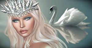 Фотографии Лебеди Волосы Блондинка Девушки 3D_Графика
